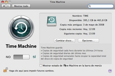 Preferencias Time Machine