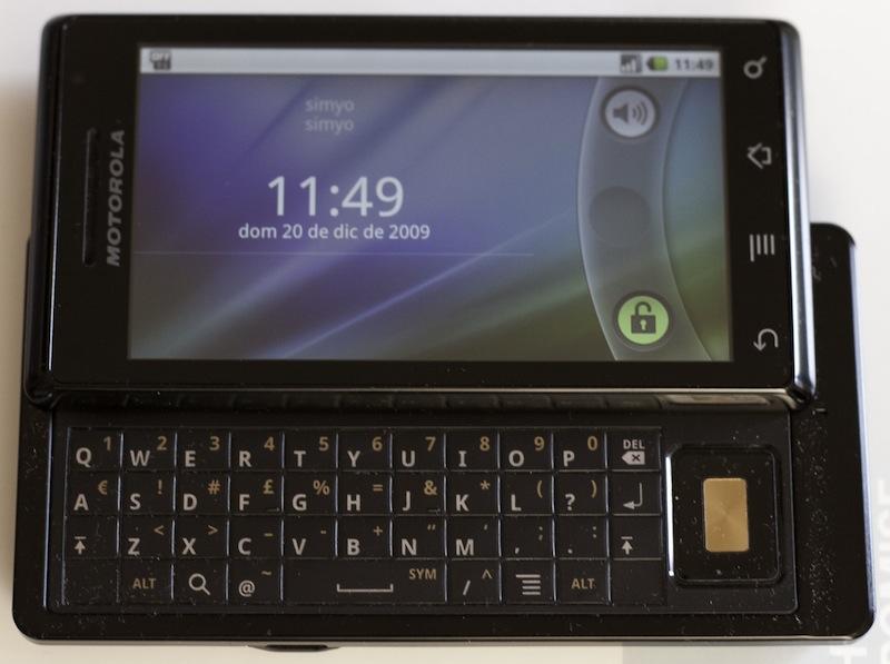 Android con el teclado desplegado